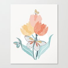 Butterflies and Tulips I Canvas Print