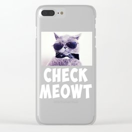 Check Meowt Funny Graphic Cat T-shirt Clear iPhone Case