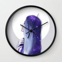 the moon Wall Clocks featuring Moon by LIZA VAN REES