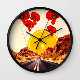 Nevada Road - Poppy Orange Sun - Sunset Collage Artwork Wall Clock