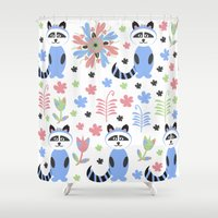 racoon Shower Curtains featuring Racoon pattern  by luizavictoryaPatterns