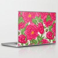 peonies Laptop & iPad Skins featuring peonies by melazerg