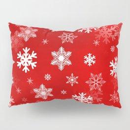 Light Red Snowflakes Pillow Sham