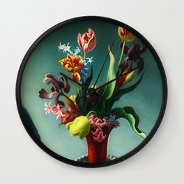 American Masterpiece 'Still Life with Spring Flowers' by Thomas Hart Benton Wall Clock