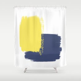 Calm & Happy Abstract Painting Yellow Blue Shower Curtain