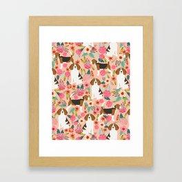 Beagle florals cute pet portrait pattern garden spring summer dog lover pet gift dog art fur baby Framed Art Print