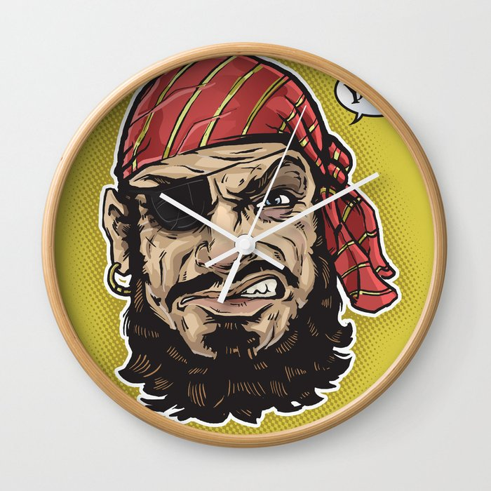 Yarg Pirate Wall Clock By Chrisbrewer Society6