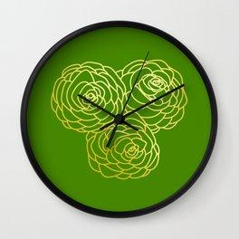 Gold Roses - Green BG Wall Clock