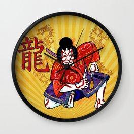 Kabuki Japanese Folk Art Motif Wall Clock