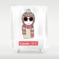 canada Shower Curtains featuring Canada -31C  by The Doodle Diary