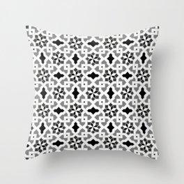 black and white -  Oriental design - orient  pattern - arabic style geometric mosaic Throw Pillow