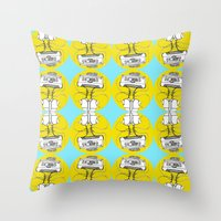 cassette Throw Pillows featuring Cassette by Molly Yllom Shop
