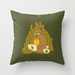 Bitcoin Miner T-shirt Bear Throw Pillow