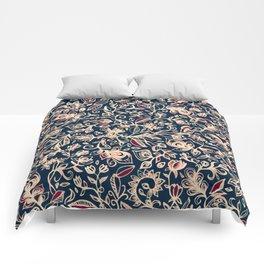 Navy Garden - floral doodle pattern in cream, dark red & blue Comforters