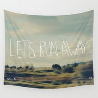run Wall Tapestries featuring Let's Run Away by Leah Flores