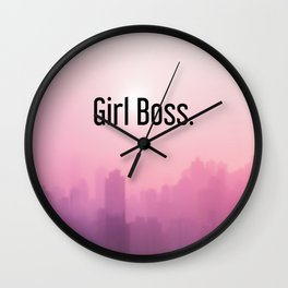 Girl Boss Feminism Quote Office Decor Printable Art Typography Wall Clock