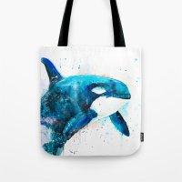 orca Tote Bags featuring Orca  by Slaveika Aladjova