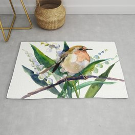 Robin Bird and Lilies of Valley Flowers Rug