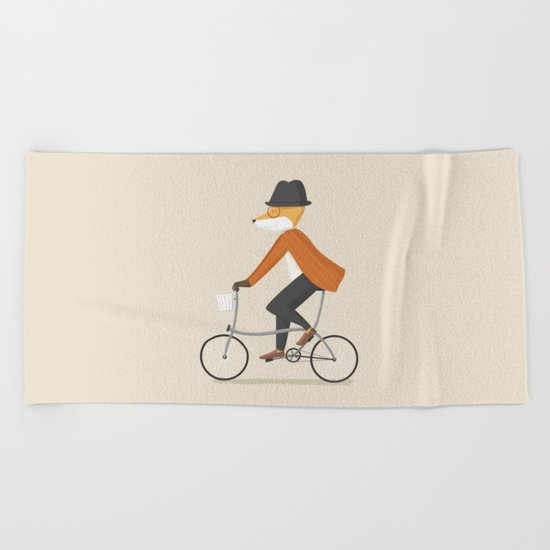 Mr. Fox is on His Way Beach Towel