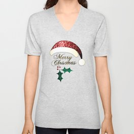 Merry Christmas Santa hat with red, gold and green sparkles Unisex V-Neck