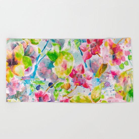 Watercolor Flowers Beach Towel