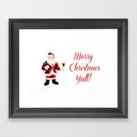 Merry Christmas Y'all Santa Framed Art Print