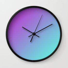 Dark Magenta Pink Purple and Light Cyan Aqua Blue Green Gradient Ombré Wall Clock