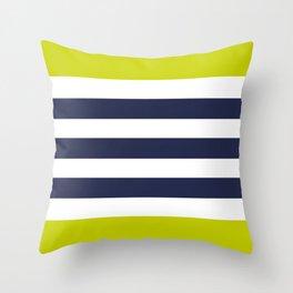 Modern Classy Navy Blue Lime Green STRIPES Throw Pillow