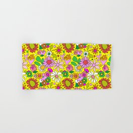 60's Lovers Floral in Sunshine Yellow Hand & Bath Towel