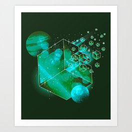 Cool Modern Space And Planets Art Green Cubes Art Print