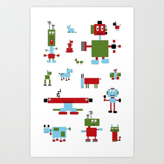 Robots-RGB Art Print
