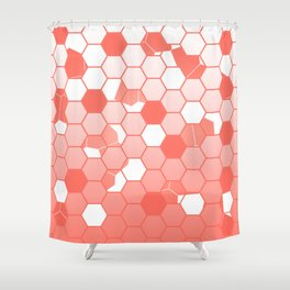 LIVING CORAL PANTONE COLOR OF THE YEAR 2019 SCATTERED HEXAGON OMBRE GRAPHIC DESIGN Shower Curtain