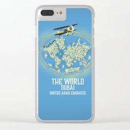 The World, Dubai United Arab Emirates map Clear iPhone Case