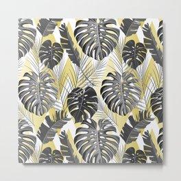Modern tropical gray lime green chevron leaves floral Metal Print