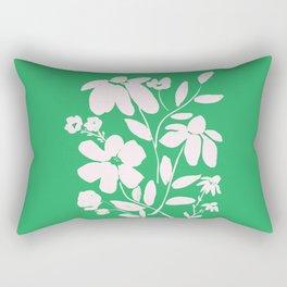 Green and White Flower Bouquet, Minimal Flowers, Simple Flower Design, Modern Daisy Flower Rectangular Pillow