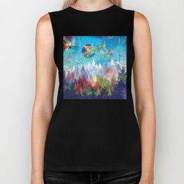 colorful forest 3 Biker Tank