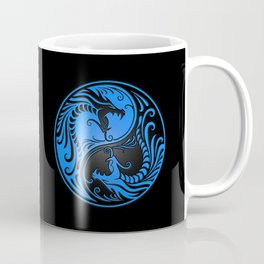 Blue and Black Yin Yang Dragons Coffee Mug