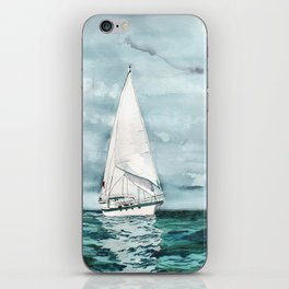 Sailboat painting on turquoise waters stormy skies iPhone Skin