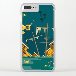 Looking for underwater treasure Clear iPhone Case