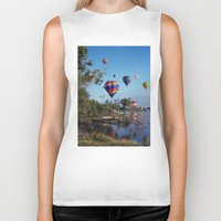 hot air balloons Biker Tanks featuring Hot air balloons over lake by Bruce Stanfield Photographer