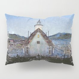 All Night Forever, Town and Cemetery by moonlight landscape by Harald Sohlberg Pillow Sham