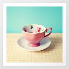 Pink flower cup Art Print