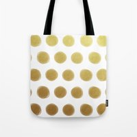 gold dots Tote Bags featuring painted polka dots - gold by her art