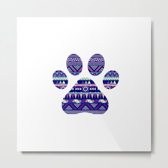 Aztec Paw Print (Dog & Puppy, Animal Lovers) Metal Print