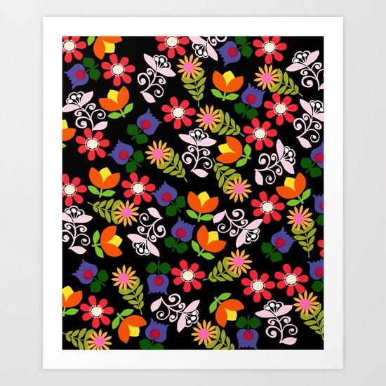 70s Flowers Art Print