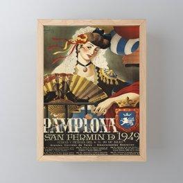 retro pamplona   san fermin. 1949  Framed Mini Art Print