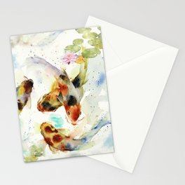 Watercolor Koi Pond Stationery Cards