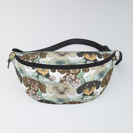 Triple Dachshunds Floral Fanny Pack