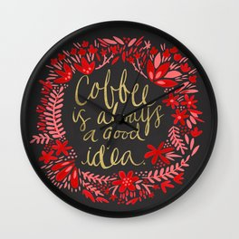 Coffee on Charcoal Wall Clock