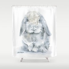 Mini Lop Gray Rabbit Watercolor Painting Shower Curtain
